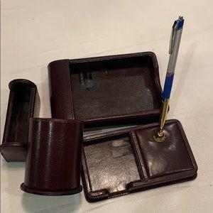 Brown Bonded Leather Desk Set, 4 pc